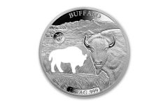 2020 Barbados $5 1-oz Silver Shapes of America Buffalo High Relief Proof-Like