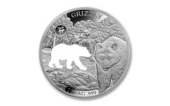 2020 Barbados $5 1-oz Silver Shapes of America Grizzly High Relief Proof-Like