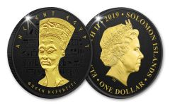 2019 Solomon Islands $1 Ancient Egypt Nefertiti Coin w/Black Nickel & Gold Plating Proof-Like