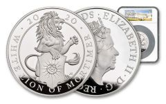 2020 Great Britain £10 10-oz Silver Queen's Beasts White Lion of Mortimer Proof NGC PF70UC First Strike