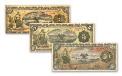 MEXICO 3PC 1914-15 1-5-10 PESOS PAPER CURRENCY VF