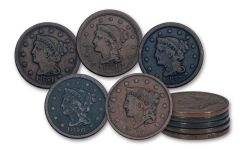 1836–1857 Large Cents 5-Coin Set VG