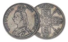 1887–1890 Great Britain Silver Double Florin Queen Victoria Jubilee VF