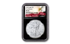2020 $1 1-oz Silver Eagle NGC MS70 First Releases w/Black Core & Eagle Label