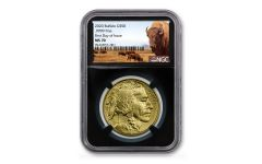 2020 $50 1-oz Gold Buffalo NGC MS70 First Day of Issue w/Black Core & Buffalo Label