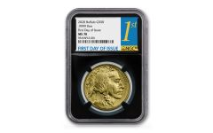 2020 $50 1-oz Gold Buffalo NGC MS70 First Day of Issue w/Black Core