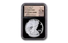 2020-W $1 1-oz American Silver Eagle NGC PF70UC First Day of Issue w/Black Core & Weinman Label