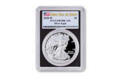 2020-W $1 1-oz American Silver Eagle PCGS PR70 DCAM First Day of Issue w/Black Core & Flag Label