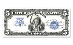 1899 $5 Oncpapa Silver Certificate BEP Replica