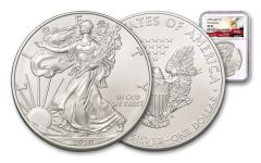 2020 $1 1-oz Silver American Eagle NGC MS69 First Releases w/Eagle Label
