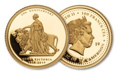 2019 Cameroon 100 Francs Half-Gram Gold Una & The Lion 200th Birthday of Queen Victoria Commemorative Proof