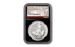 2020 Great Britain £2 1-oz Silver Britannia NGC MS69 First Releases w/Black Core & Britannia Label
