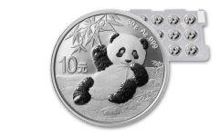 2020 China 30-Gram Silver Panda Uncut Sheet of 15 Brilliant Uncirculated