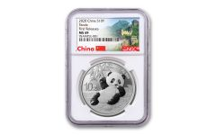 2020 China 30-Gram Silver Panda NGC MS69 First Releases w/Great Wall Label