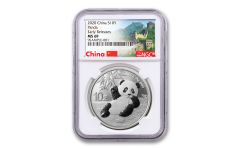 2020 China 30-Gram Silver Panda NGC MS69 Early Releases w/Great Wall Label