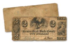 1841 $2 Farmers Bank of Bucks County Obsolete Note Circulated