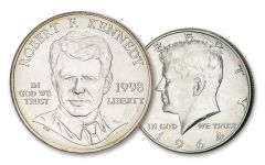 2PC 1964/1998 50 CENT-$1 SILVER KENNEDY BU SET