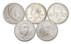 1990–2009 Famous Americans Commemorative Silver Dollar 5-Coin Set