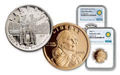 2004-P Lewis & Clark Silver Dollar & 2000-2008 Sacagawea Dollar 2-pc Set NGC PF69 Smithsonian Coin Classics