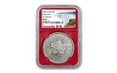 2020 Canada $5 1-oz Silver Maple Leaf NGC MS70 First Releases w/Red Core & Canada Label