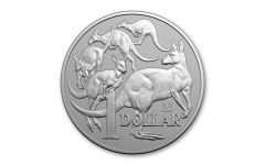 2019 Australia $1 1-oz Silver Beijing Coin Show Kangaroo w/Panda Privy Mark