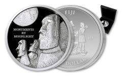 2019 Fiji $1 1-oz Silver Monuments by Moonlight Easter Island Ultra High Relief Proof