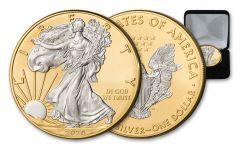 2020 $1 1-oz Silver American Eagle BU w/24 Karat Gold Gilded Background and Silver Liberty & Eagle