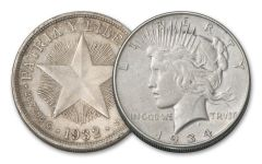 1932-1934 Cuban Peso & 1934-P Peace Dollar VF-XF 2-pc Set