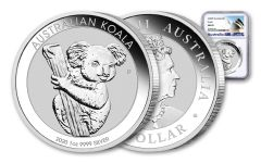 2020 Australia $1 1-oz Silver Koala NGC MS70 w/Opera House Label