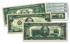 $1-$10-$20 1969-1977 FEDRES PMG 63-64 OFFSET ERROR