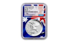 2020 Australia $1 1-oz Silver Wedge Tailed Eagle NGC MS70 First Day of Issue w/Mercanti Signature