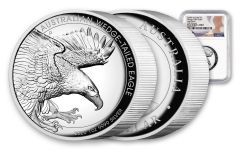 2020 Australia $1 1-oz Silver Wedge Tailed Eagle High Relief Proof NGC PF69UC First Releases w/Mercanti Signature