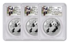 3PC CHINA 2020 SLV PANDA PCGS MS70 3 MINT