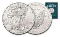 2020 $1 1-oz American Silver Eagle BU Birthday Traditional Card