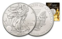 2020 $1 1-oz American Silver Eagle BU Happy Anniversary Card