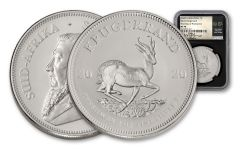 2020 South Africa 1-oz Silver Krugerrand NGC MS70 First Day of Production w/Tumi Signature