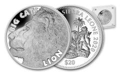 S LEONE 2020 $20 2-OZ SILVER BIG CAT LION HR PF
