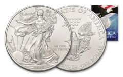 2020 $1 1-oz American Silver Eagle BU Land of the Free Card