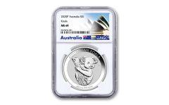 2020 Australia $1 1-oz Silver Koala NGC MS69 w/Opera House Label