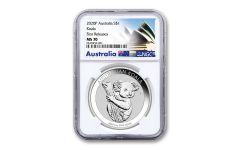 2020 Australia $1 1-oz Silver Koala NGC MS70 First Releases w/Opera House Label
