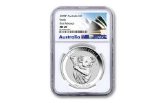 2020 Australia $1 1-oz Silver Koala NGC MS69 First Releases w/Opera House Label