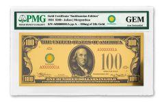 Smithsonian Series 1934 $100 24K Gold Certificate PMG Gem