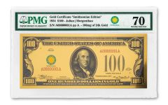 Smithsonian Series 1934 $100 24K Gold Certificate PMG 70