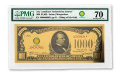 Smithsonian Series 1934 $1,000 24K Gold Certificate PMG 70