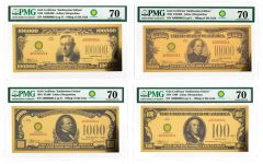 Smithsonian Series 1934 24K Gold Certificates PMG 70 4-pc Set