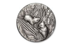 2020 Australia $2 2-oz Silver Lunar Year of the Mouse Antiqued BU