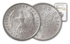 1923-A Germany 200 Mark Aluminum NGC MS66