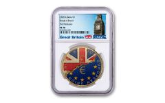 2020 Liberia $1 Brass Break-It Brexit Coin NGC PF70 First Releases