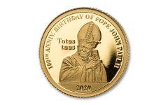 2020 Barbados $10 1/2-gm Gold Pope John Paul II 100th Birth Anniversary Proof