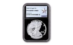2020-W $1 1-oz American Silver Eagle NGC PF70UC w/Black Core & Silver Star Label
